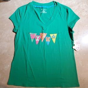 Jasmine & Ginger Green V-neck WISH T-Shirt L